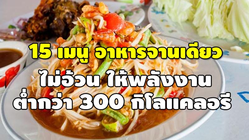 15 เมนูอาหารจานเดียว ไม่อ้วน ให้พลังงาน ต่ำกว่า 300 กิโลแคลอรี